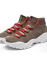 cheap -Men's Shoes Breathable Mesh Spring Fall Comfort Athletic Shoes Walking Shoes For Athletic Rainbow Green Black/White Khaki