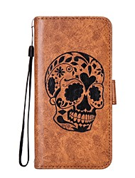 cheap -Case For Samsung Galaxy Xperia XZ / Xperia L1 Wallet / Card Holder / with Stand Full Body Cases Skull Hard PU Leather for Sony Xperia XZ / Sony Xperia L1 / Samsung Galaxy