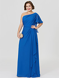 cheap -Sheath / Column One Shoulder Floor Length Chiffon Mother of the Bride Dress with Pleats by LAN TING BRIDE®