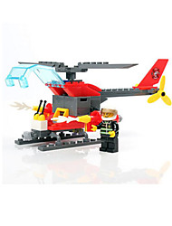 cheap -Building Blocks Fire Engine Vehicle Helicopter Toys Fire Engines Military Boys 83 Pieces