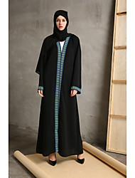 cheap -Women's Party Daily Wear Casual Loose Abaya Dress,Solid Color Block Round Neck Maxi Long Sleeve Polyester Elastane All Season High Waist