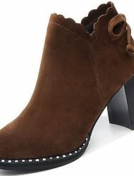abordables -Femme Chaussures Daim Hiver Bottes à la Mode Bottes Talon Bottier Bout rond Bottine / Demi Botte Noeud pour Noir / Brun Foncé