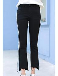 cheap -Women's Mid Rise Micro-elastic Jeans Pants,Casual Color Block Fall