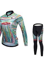 economico -Malciklo Maglia con pantaloni da ciclismo Per donna Unisex Manica lunga Bicicletta Maglietta/Maglia Calze/Collant/Cosciali Striscia