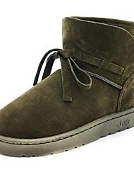 Femme Chaussures Cuir Nubuck Automne Hiver Bottes de neige Botillons Doublure fluff Bottes Bout rond Bottine/Demi Botte Pour Décontracté