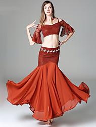 baratos -Dança do Ventre Roupa Mulheres Espetáculo Raiom Renda Renda Em Camadas Meia Manga Caído Saias Blusa