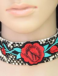 preiswerte -Damen Blumig Böhmische Modisch Halsketten Leder Aleación Halsketten . Party Alltag