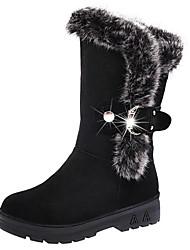 Mujer Zapatos PU Otoño Invierno Confort Botas de nieve Botas Para Casual Negro Color Camello Borgoña