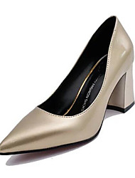 Women's Shoes PU Spring Fall Comfort Heels For Casual Red Dark Blue Silver Black Gold