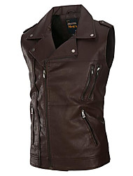 cheap -Men's Daily Going out Street chic Winter Fall Vest,Solid Stand Sleeveless Regular Cotton