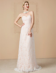 cheap -A-Line Sweetheart Sweep / Brush Train Tulle Over Lace Custom Wedding Dresses with Sashes / Ribbons by LAN TING BRIDE®