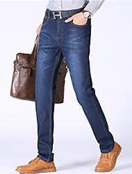 Masculino Simples Cintura Média Micro-Elástica Jeans Chinos Calças,Jeans Chinos Sólido Listrado