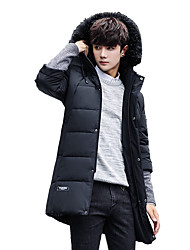 cheap -Men's Long Padded Coat,Casual Boho Street chic Daily Work Solid Print Lolita-Polyester Eco-friendly Polyester Long Sleeves