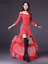 baratos -Devemos roupas de dança do ventre desempenho feminino poliéster fricção dividido união 3/4 comprimento manga alta saia tops