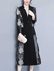 Women's Daily Going out Simple Casual Fall Coat,Floral Print Shirt Collar Long Sleeves Long Acrylic Polyester