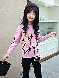 Girls' Embroidery Blouse,Cotton Rayon Winter Fall Long Sleeves Casual Active Blue Blushing Pink Gray