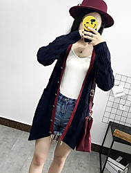 cheap -Women's Daily Wear Casual Long Cardigan,Solid V Neck Long Sleeves Acrylic Fall Thick Stretchy