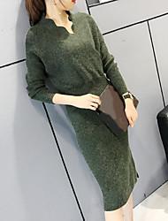 Moulante Robe Femme Sortie Couleur Pleine Col Arrondi Mi-long Manches Longues Laine Hiver Automne Taille Normale Non Elastique Epais