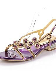 Недорогие -Жен. Обувь Полиуретан Весна Лето Модная обувь Сандалии Открытый мыс Стразы Кристаллы Лак Пряжки для Для праздника Для вечеринки / ужина