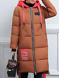 Women's Long Padded Coat,Casual Daily Going out Color Block-Polyester Long Sleeves