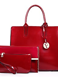 cheap -Women Bags Patent Leather Bag Set 3 Pcs Purse Set Zipper for Shopping Casual All Season Purple Red Black Blue