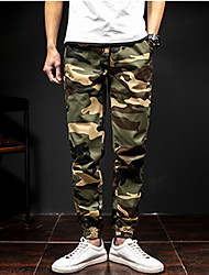 economico -Per uomo A vita medio-alta Casual Militare Media elasticità Chino Pantaloni, Collage Cotone Poliestere Primavera Autunno