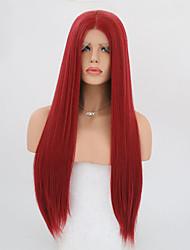 abordables -Mujer Peluca Lace Front Sintéticas Largo Corte Recto Rojo Raya en medio Peluca de cosplay Peluca natural Peluca de fiesta Peluca de