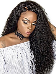 cheap -Remy Human Hair Lace Front Wig Peruvian Hair Jerry Curl With Baby Hair 130% Density 100% Virgin African American Wig Natural Hairline