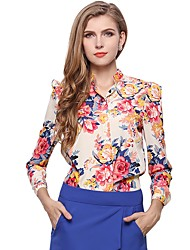 cheap -Women's Daily Wear Work Boho Street chic All Seasons Blouse,Floral Stand Long Sleeves Polyester