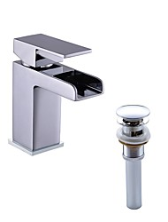Contemporain Montage Centerset with  Soupape céramique 1 trou for  Chrome , Robinet lavabo