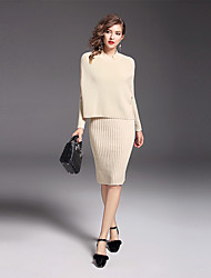 Women's Daily Work Sophisticated Sweater Dress Suits,Solid Long Sleeves Nylon Mercerized Cotton