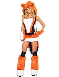 サンタスーツ セット 女性用 クリスマス イベント/ホリデー ハロウィーンコスチューム ホワイト オレンジ ブラウン ソリッド