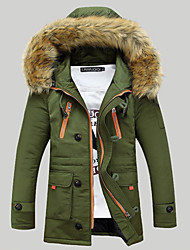 cheap -Men's Plus Size Military Punk & Gothic Street chic Faux Fur Long Parka - Solid Colored Color Block