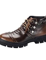 Недорогие -Муж. обувь Кожа Весна Осень Удобная обувь Ботинки для Повседневные Черный Серый Коричневый