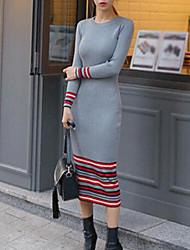Gaine Robe Femme Sortie Décontracté / Quotidien Rayé Col Arrondi Midi Manches Longues Coton Eté Taille Normale Micro-élastique Fin