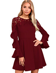 cheap -Women's Party Club Sexy Lace Dress,Solid Round Neck Mini Long Sleeve Polyester Spandex Winter High Waist Micro-elastic Opaque