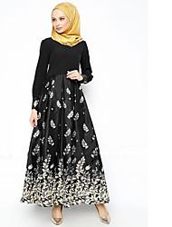 cheap -Women's Abaya Dress Black, Print Maxi