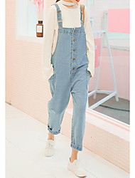 cheap -Women's High Rise Inelastic Wide Leg Overalls Pants,Vintage Casual Solid Cotton All Seasons
