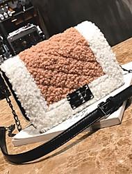 baratos -Mulher Bolsas Poliéster Pêlo Bolsa Transversal Botões Penas / Pêlo para Casual Inverno Outono Branco Preto Rosa Cinzento Marron