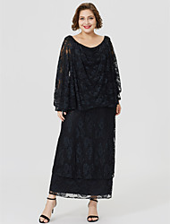 cheap -Sheath / Column Cowl Neck Tea Length Sheer Lace Mother of the Bride Dress with Pleats by LAN TING BRIDE®