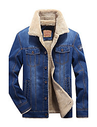 cheap -Men's Daily Simple Casual Winter Denim Jacket,Solid Long Polyester