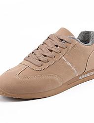 Недорогие -Муж. обувь Свиная кожа Зима Осень Флисовая подкладка Удобная обувь Спортивная обувь для Повседневные на открытом воздухе Черный Серый