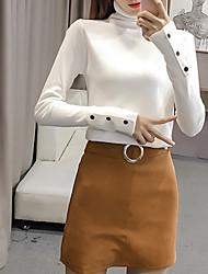 Standard Pullover Da donna-Casual Ufficio Semplice Tinta unita Dolcevita Manica lunga Cotone Poliestere Inverno Autunno Medio spessore
