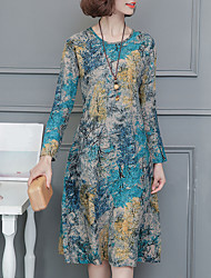 Women's Casual/Daily Chinoiserie Loose Dress,Print Round Neck Midi Long Sleeves Linen Spring Fall Mid Rise Inelastic Medium