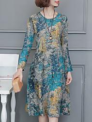 Ample Robe Femme Décontracté / Quotidien Chinoiserie,Imprimé Col Arrondi Midi Manches Longues Lin Taille Normale Non Elastique Moyen