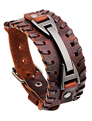 cheap -Men's Leather Bracelet - Rock, Hip-Hop, Statement Bracelet Black / Brown For Daily / Casual