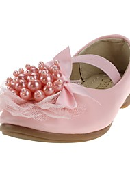 Girls' Shoes Leatherette Spring Fall Comfort Flower Girl Shoes Heels Imitation Pearl Gore For Wedding Dress Pink White