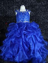 Princess Floor Length Flower Girl Dress - Organza Satin Sleeveless Halter with Beading Crystal Detailing by