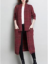 cheap -Women's Daily Wear Long Cardigan,Print V Neck Long Sleeves Cotton Winter Autumn/Fall Opaque Micro-elastic