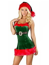 cheap -Holiday Mrs.Claus Santa Claus Outfits Women's Christmas Festival / Holiday Halloween Costumes White Green Solid Colored